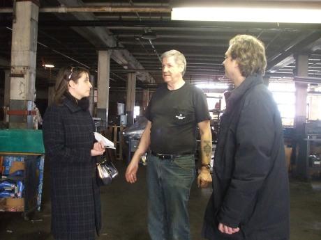 Christen and Joel with Howard, the facilities manager at Parisian Novelty
