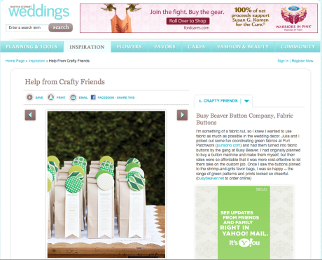 Busy Beaver Button Co. featured in Martha Stewart Weddings